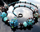 Lampwork Bead Necklace Handcrafted Glass Handmade Artisan Wearable Art Jewelry SRA and SRAJD. $85.00, via Etsy.
