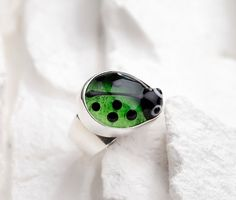 Ladybug Ring  Lime Green Lampwork Glass on Sterling by evihan,