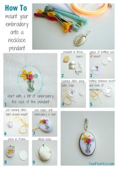 How to mount embroidery onto a necklace pendant. by Sew Fearless for We Love French Knots