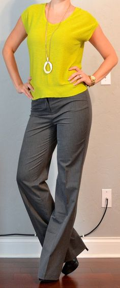 Outfit Posts: outfit posts: citron green sweater, grey 'editor' pants