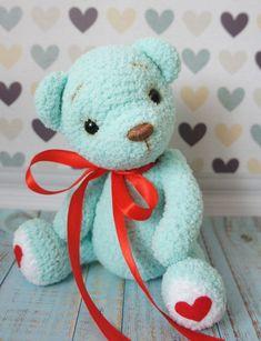 Crochet Teddy, Crochet Bear, Crochet Animals, Easy Crochet Patterns, Amigurumi Patterns, Teddy Bear Toys, Teddy Bears, Doll Clothes, Free Pattern