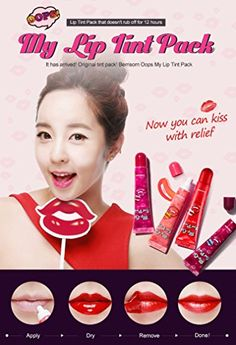 Berrisom Oops MY LIP TINT PACK virgin red Lip Stick Lip Gloss Cosmetic Beauty Cosmetic It Item Lip Moisturizer korean beauty cosmetic -- Find out more about the great product at the image link. My Lip Tint Pack, Korean Lipstick, Coral Lips, Korean Products, Thing 1, How To Line Lips, Pink Lipsticks, Lip Moisturizer, Lip Stain