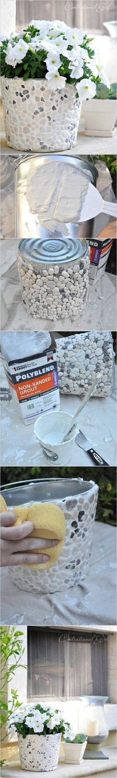 DIY pebble flower pots over tin cans