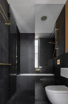 Matraville House bathroom with dark interior 3 Modern Small Bathroom Ideas - Great Bathroom Renovati Bad Inspiration, Decoration Inspiration, Bathroom Inspiration, Bathroom Photos, Bathroom Layout, Bathroom Ideas, Bathroom Trends, Bathroom Vanities, Shower Ideas