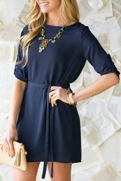 Brief Round Collar Long Sleeve Purplish Blue Self-Tie Women's DressLong Sleeve Dresses   RoseGal.com