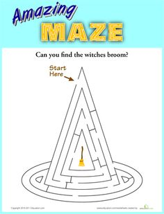 Worksheets: Witch's Hat Maze