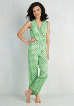 Treat Dreams Sleep Jumpsuit in Lime. Gear up for a night of stylish slumber in this preciously printed one piece! #mint #modcloth