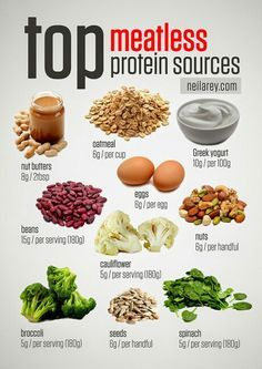 For the vegetarians (or those just looking for more protein!) here are great sources of protein, sans meat!