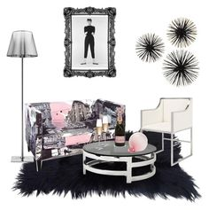 """""""Posh space for the sophisticated woman"""" by fashionmindedla on Polyvore featuring interior, interiors, interior design, home, home decor, interior decorating, Flos, Skyline, Worlds Away and Eichholtz"""