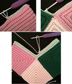 Nu hækles den vissentgrønne firkant Crochet Potholders, Crochet Squares, Crochet Granny, Crochet Home, Diy Crochet, Knifty Knitter, Knitting, Crochet Clothes, Crochet Projects