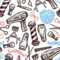 Buy Barber Shop Attributes Doodle Seamless Pattern by macrovector on GraphicRiver. Barber shop tools accessories and symbols seamless pattern in red blue black doodle abstract vector illustration. Barber Poster, Barber Logo, Andrea Barber, Barber Tattoo, Barber Shop Decor, Barbershop Design, Tattoo Zeichnungen, Shop Logo, Moustache