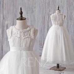 Off+White+Junior+Bridesmaid+DressFlower+Lace+Neck+Flower+Girl