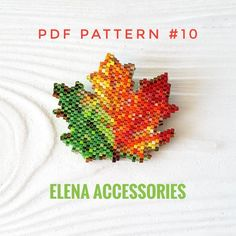 Maple leave PDF peyote/brick stitch pattern for miyuki & toho tresures beads.  Dimensions: 1.58 in x 1.53 in inches Colors: 30 Stitch: Peyote   A PDF file includes - A bead legend (color and numbers of beads needed) - A large, detailed, numbered graph of the pattern (grid).  This pdf pattern intend