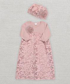 Misty Rose Gabriella Lace Gown & Cap - Infant