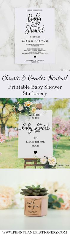 Featuring a clean, minimalist design, our classic Baby Shower stationery collection is perfect for a Boy, Girl or Gender Neutral party celebration! Budget Baby Shower, Baby Shower Advice, Shower Ideas, Gender Neutral Baby Shower, Floral Baby Shower, Baby Gender, Baby Shower Printables, Baby Shower Invitations, Diy Printable Stationery