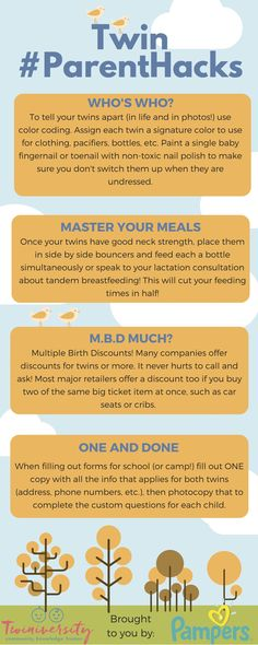 Thanks to our friends at Pampers, we're bringing you some fun and helpful infographics to help you along on your twins journey! The infographic below outlines top twin parent hacks to make sure you're not doing extra unnecessary work when taking care of your twinnies. These hacks will definitely make your life EASIER, and who doesn't love that?!