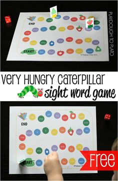FREE Very Hungry Caterpillar Sight Word Game. Fun, motivating way to practice reading, spelling and writing sight words.Brings together reading the book and learning words, great for visual learners Teaching Sight Words, Sight Word Practice, Sight Word Games, Sight Word Activities, Literacy Activities, Literacy Centers, Word Games For Kids, Emergent Literacy, Spelling Practice