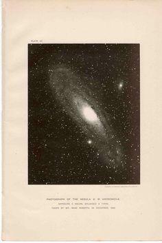 1900 andromeda galaxy original antique celestial astronomy print. $25.00, via Etsy.