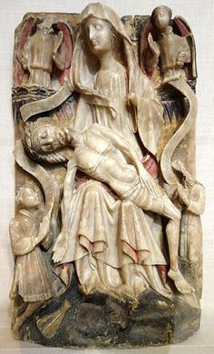 File:English reliefs, 2 of 3, Lamentation with Donors, perhaps Nottingham, c. 1440-1450, alabaster with traces of polychromy and gilding, lent by the Metropolitan Museum of Art - Chazen Museum of Art - DSC02019.JPG