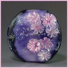 Ikuyoglassart Handmade Lampwork dichro Flower Murrini Focal Bead sra