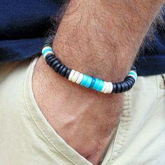Men surfer bracelet, men wood bracelet, men beaded bracelet, turquoise chrysocolla bead, stretch , beach, jewelry  for men, free shipping