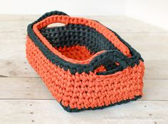 These rectangular nesting baskets are super durable and great for organization and storage… and they're also perfect for little hands to tote around their treasures! You can find the patterns for each size crochet basket below… Rectangular Crochet Basket Patterns Here's what you will need: 2 colors T-shirt yarn (I used 1 skein each ofFab-U-Loop<- …