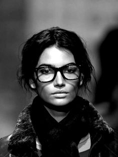 """""""co-ed"""" look.. Matte lips, thicker eyebrows, defined simple eyes. thick rimmed lenses +thick blck scarves = yes"""