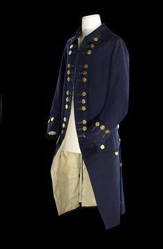 Royal Naval uniform:1748 This dress coat of a lieutenant has much in common with the formal suits of the mid-18th century. It is full skirte...