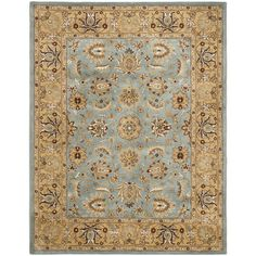 Safavieh Handmade Heritage Timeless Traditional Blue/ Gold Wool Rug (12' x 18') (HG958A-1218), Size 12' x 18'