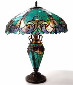 Tiffany Style Stained Glass Table Lamp Desk Art Deco Victorian Antique Bronze