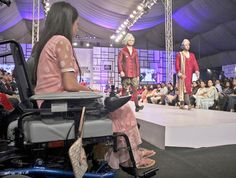 KARACHI: A disabled girl is watching catwalk during Fashion Pakistan Week (FPW) 3 at local hotel.