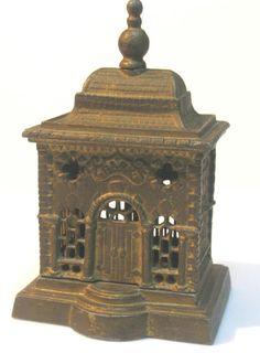 ANTIQUE JUDAICA CAST IRON BANK BUILDING MONEY BOX BANK