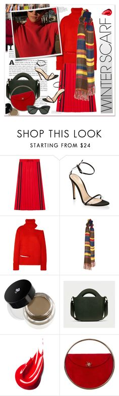 """""""#WinterScarf"""" by stylemeup-649 ❤ liked on Polyvore featuring INC International Concepts, Gucci, Gianvito Rossi, Monse, Lancôme, Na Nin Vintage, Charlotte Olympia and Thom Browne"""