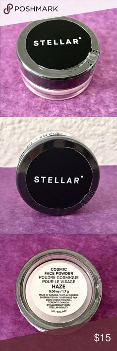 Stellar Cosmic Face Powder (Haze): Translucent One travel/deluxe sample-size container (1.7g/.06 oz.) of Stellar Cosmic Face Powder in Haze. This translucent loose powder works on any skin tone. Use it as a setting/finishing powder for a matte, yet radiant finish for an airbrushed, poreless look. Blurs imperfections. A little bit goes a long way! This travel/deluxe sample-size container is a great way to try the powder several times before investing in the full-size product.   New…