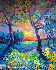 Art by Trusova Landscape Art, Landscape Paintings, Scenery Paintings, Large Painting, Art Oil, Oeuvre D'art, Painting Inspiration, Les Oeuvres, Amazing Art