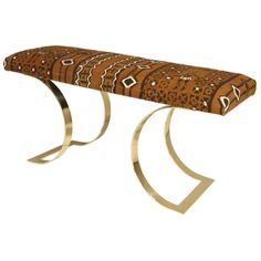 Curved Bench' in polished brass with African batik covered seat by Karl Springer, American Antique Furniture, Modern Furniture, Fashion Art, Vintage Fashion, Curved Bench, Upholstered Bench, Polished Brass, Cuff Bracelets, Hallway Bench
