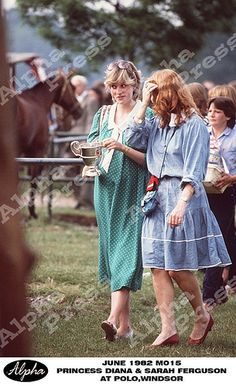 June 6, 1982: Princess Diana with friend, Sarah Ferguson at a polo match in Windsor. by the Waxbitch®, via Flickr