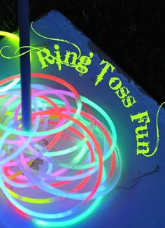 Glowing Ring Toss Kids Game. I did this for a church event on fire work night it was cute because they glowed