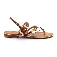 Leather Sandals with Straps and Toe Post