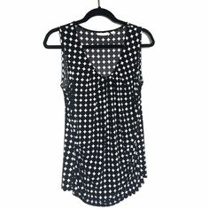 50ec630d620ed NEW YORK   COMPANY Women s Black White Polka Dot Sleeveless Blouse Top Size  L