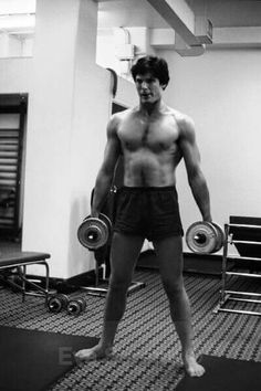 Christopher Reeve. Training for the Superman role.