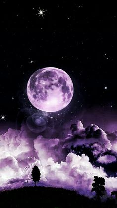 The purple moon is so beautiful
