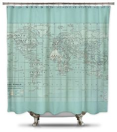earth or sky maps on a shower curtain. passive studying in the shower. Fabric Shower Curtains, Globe Crafts, Map Crafts, Globe Decor, Shower Curtain Sizes, Pillow Fabric, My New Room, Apartment Living, Ideas