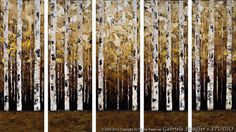 Abstract Modern Painting  Landscape Birch Trees Art by by Catalin, $279.00