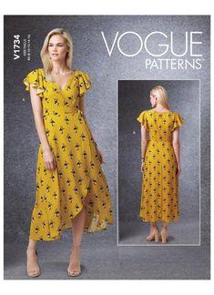 Vogue sewing pattern 1734 Wrap Dresses with Ties – jaycotts.co.uk - Sewing Supplies Vogue Patterns, Dress Patterns Uk, Dress Making Patterns, Patron Simplicity, Mode Kimono, Wrap Around Dress, Miss Dress, Kimono Fashion, Short Sleeve Dresses