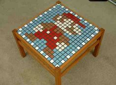 Don't you just love the look of this mosaic tiled table with the Super Mario image? It's the perfect little coffee table if you ask me. Mosaic Tile Table, Mosaic Coffee Table, Mario Room, Geek Room, Old Coffee Tables, Diy Table, Room Themes, Donkey Kong, Pixel Art