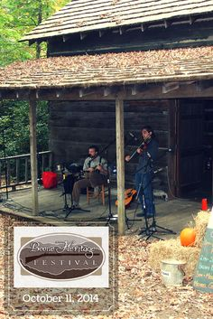 Enjoy the beautiful surroundings of Hickory Ridge Living History Museum and Daniel Boone Park while listening to old-time mountain music and storytelling all day, during the Boone Heritage Festival, October 11, 2014, in Boone, NC. http://www.booneheritagefestival.com