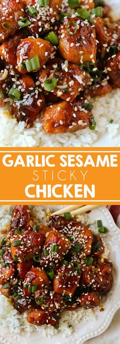 Sticky Garlic Sesame Chicken - Swanky Recipes - You'll love this homemade Chinese takeout version. #chicken #dinner #chinesefood