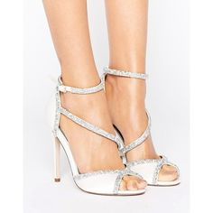 ASOS HIBISCUS Bridal Embellished Heeled Sandals (94 AUD) ❤ liked on Polyvore featuring shoes, sandals, cream, bridal shoes, peeptoe shoes, ankle wrap sandals, bride sandals and peep-toe shoes