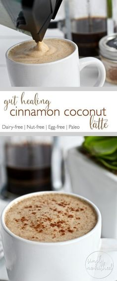 Gut-healing Cinnamon Coconut Latte Start your day off right with this creamy delicious coffee drink - abundant in metabolism boosting fats and gut-healing collagen. Yummy Drinks, Healthy Drinks, Yummy Food, Healthy Food, Healthy Smoothies, Green Smoothies, Healthy Tips, Healthy Meals, Tres Cafe